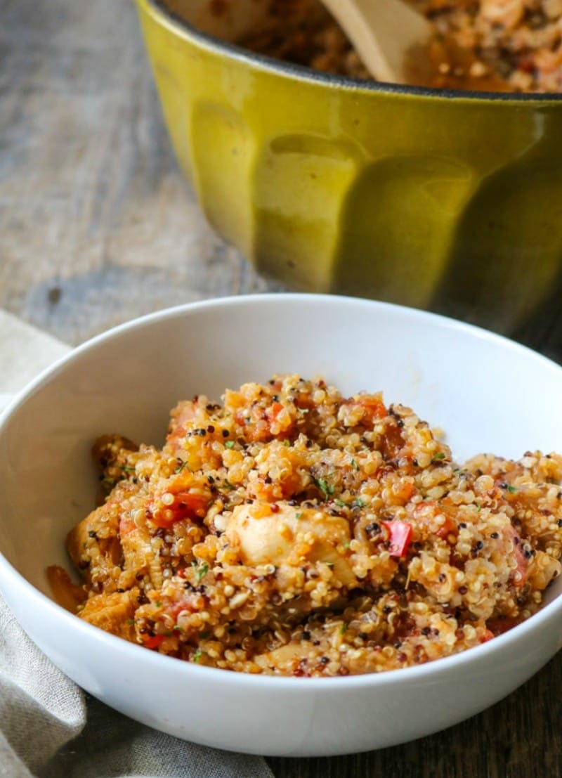 White bowl filled with quinoa Jambalya