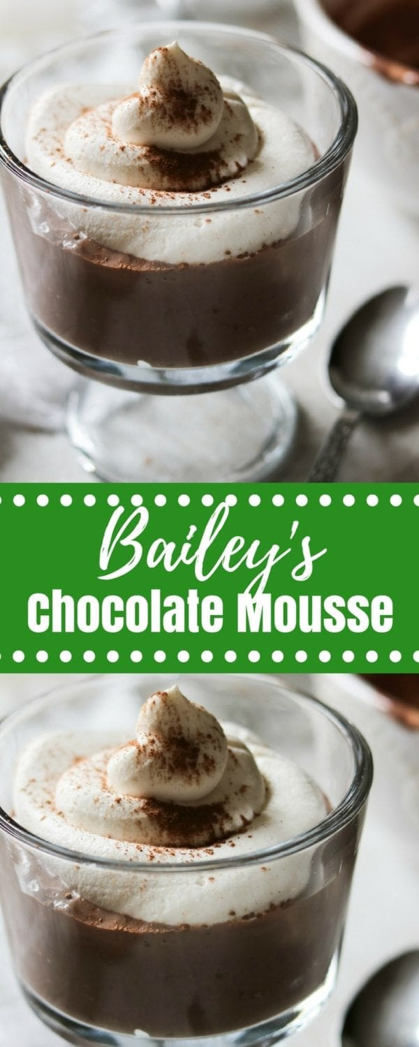 Bailey's Chocolate Mousse: A simple, lighted up version of chocolate mousse that has been spiked with irish liquor and espresso. #dessert #glutenfree #chocolate #lightenedup