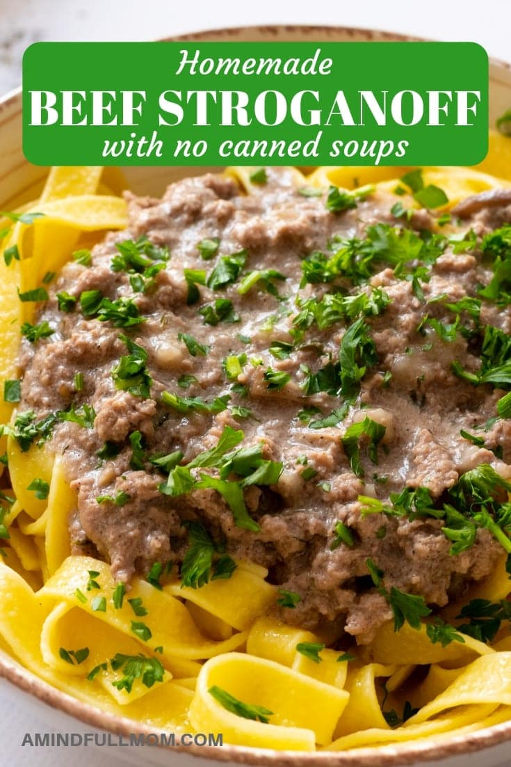 This is an easy recipe for Homemade Beef Stroganoff with homemade cream of mushroom soup. A creamy gravy tossed with fresh mushrooms and beef and served over egg noodles is a hearty, comforting Healthier Beef Stroganoff that is made with wholesome ingredients you can feel proud to serve your family or friends.