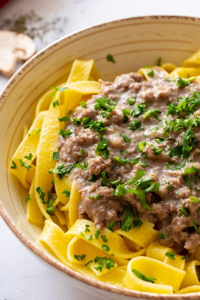 Bowl of Homemade Beef Stroganoff
