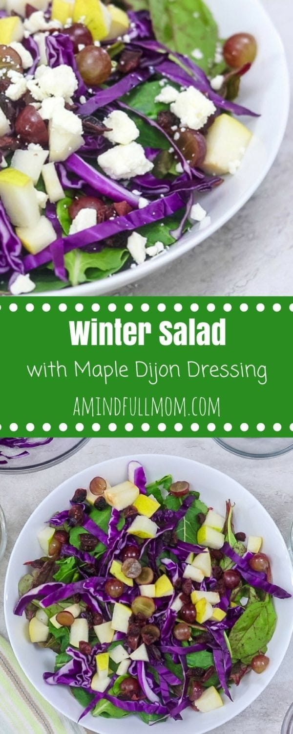 Winter Salad with Homemade Dijon Salad Dressing: An easy winter salad recipe that celebrates winter produce. A bed of mixed greens tossed with purple cabbage and topped with grapes, pears, cranberries, feta, and roasted nuts and finished off with a Maple Dijon dressing.  Paleo, Vegan, and Whole 30 adaptations