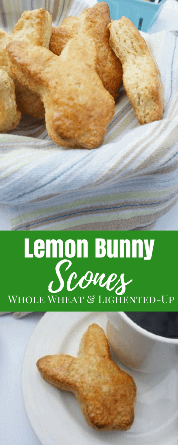 Whole Wheat Lemon Scone: Tender lemon scone made with whole wheat flour and Greek yogurt for a lightened up treat. Bunny shape optional. #easter #scone #brunch #baking
