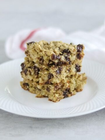 Oatmeal Chocolate Chip Cookie Bars on white plate