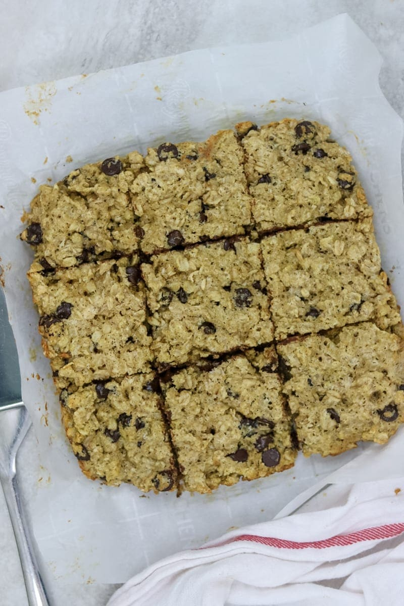 Baked Chocolate Chip Oatmeal Cookies cut into bars