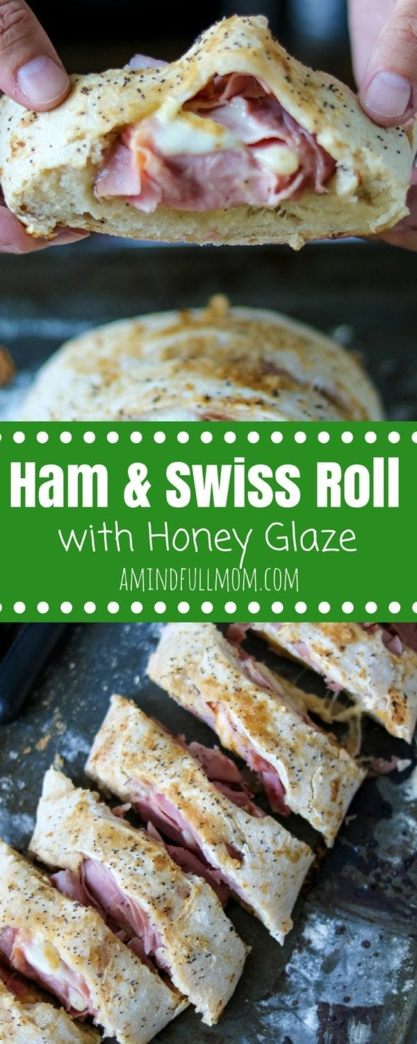 Ham and Swiss Loaf with Horesradish Honey Glaze: Looking for creative uses for leftover ham? Look no further Honey Ham Roll. A sweet and tangy glazed bread that is filled with savory ham and sharp cheese. | Leftover Ham Recipes | Ham Sandwich Recipes | Ham and Swiss Recipes | Easy Leftover Ham Recipes | Baked Sandwiches | Ham and Cheese Rolls | Ham and Cheese Braid Recipe | Baked Ham and Cheese Roll Up