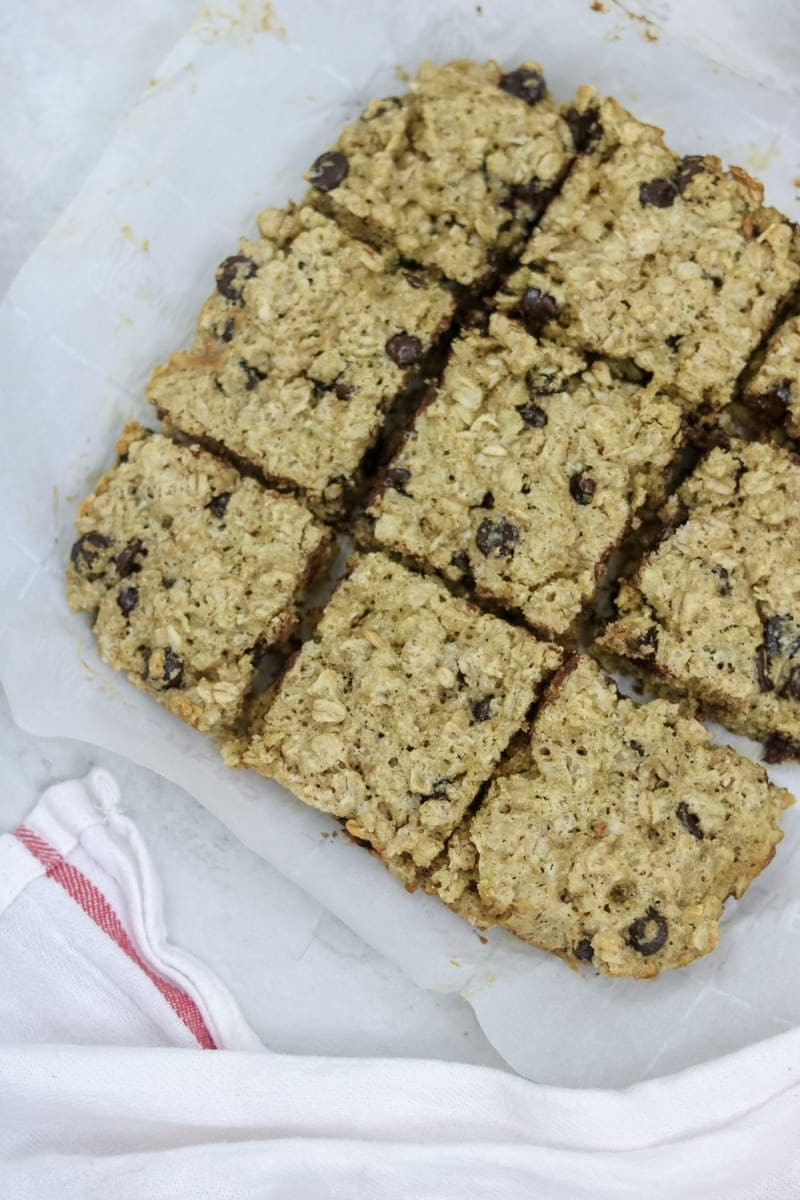 Oatmeal Cookie Bars with chocolate chips cut into bars