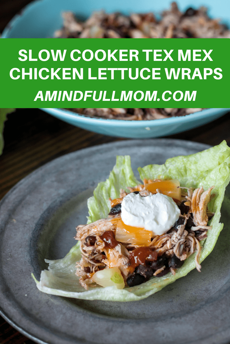 Sweet and Spicy Chicken Lettuce Wraps: An easy and healthy recipe for chicken lettuce wraps. The Tex-Mex lettuce wrap filling is made effortlessly with the help of the slow cooker, which creates the perfect Mexican chicken and beans.#chickenrecipes #slowcooker #healthyrecipe #glutenfree