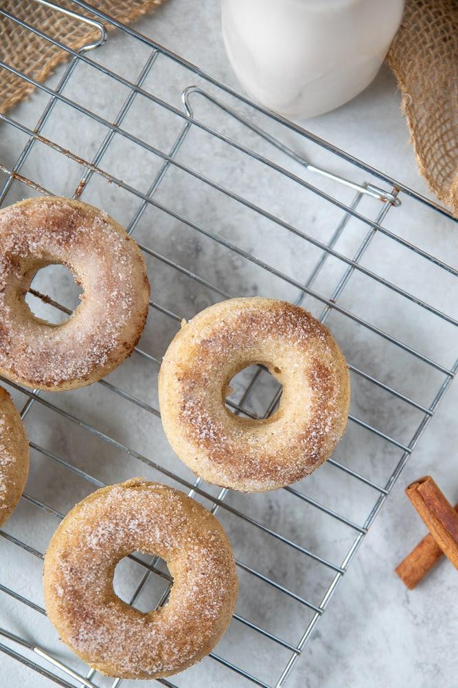 Cinnamon Sugar donuts on wire rack