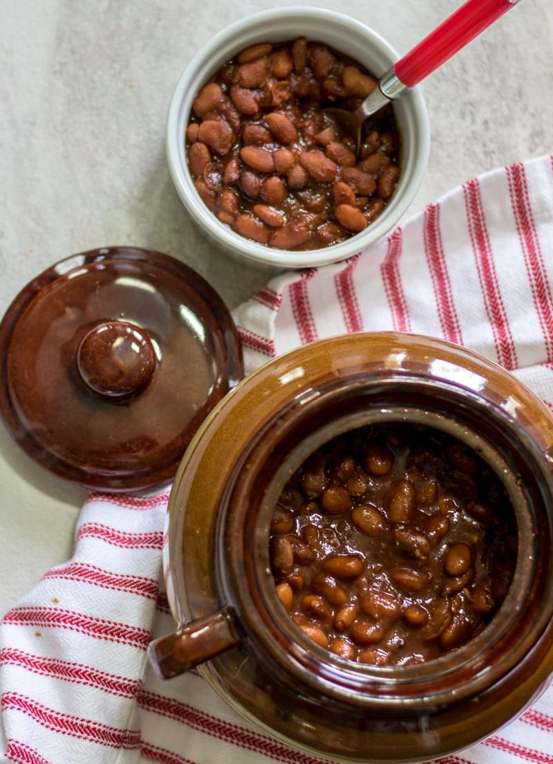 Instant Pot Baked Beans: Slow cooked pinto beans with a homemade sweet and smokey sauce. A family heirloom recipe for the best baked beans that you have ever tasted--no cans here!