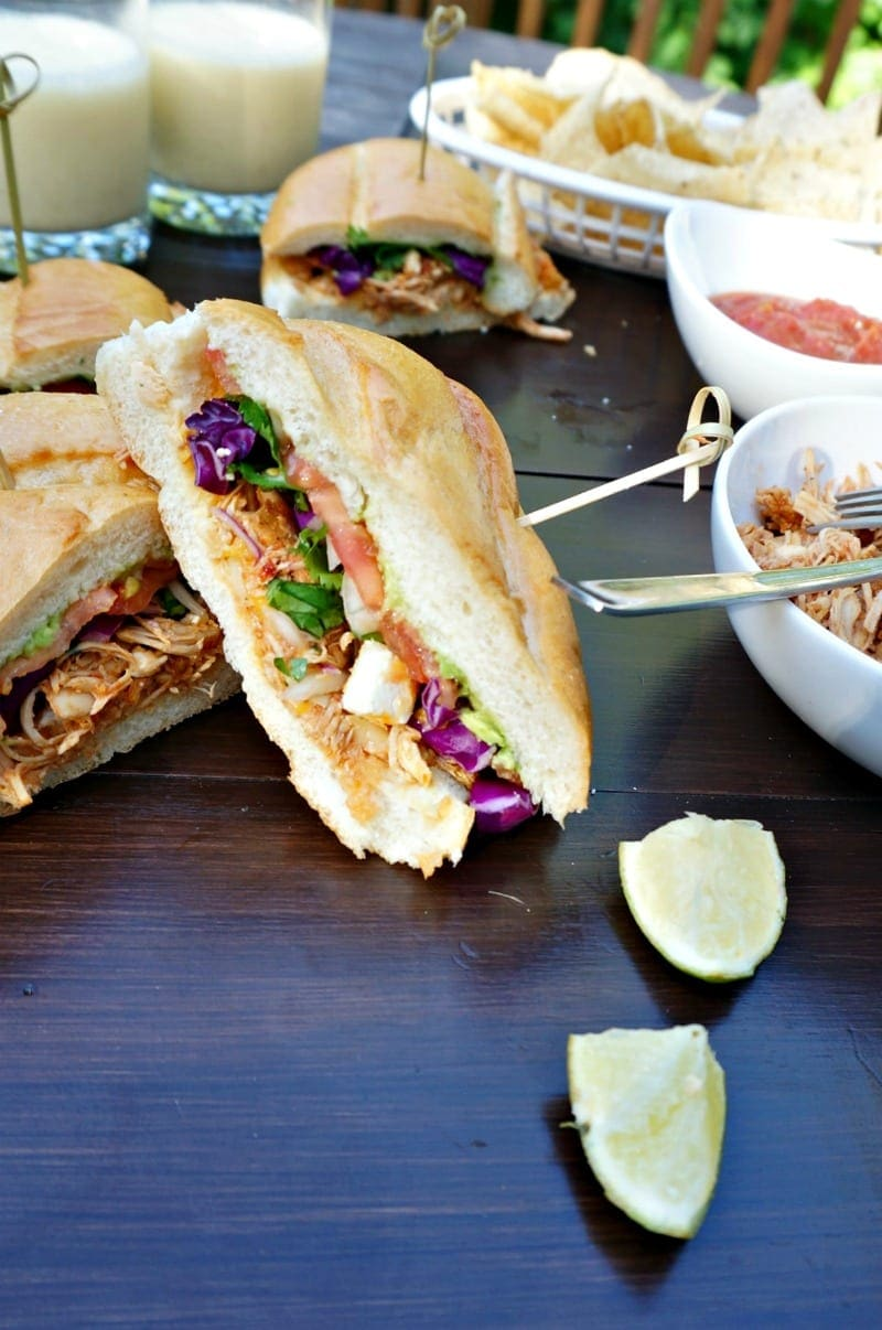 Chipotle Chicken Torta: A Mexican Sandwich made with slow cooked chipotle chicken, crunchy cabbage, sharp queso fresco, and creamy avocado. #mexican