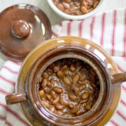 Old Fashioned baked beans with bacon maple flavoring in pot