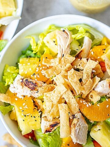 Bowl of Caribbean Chicken Salad with grilled chicken