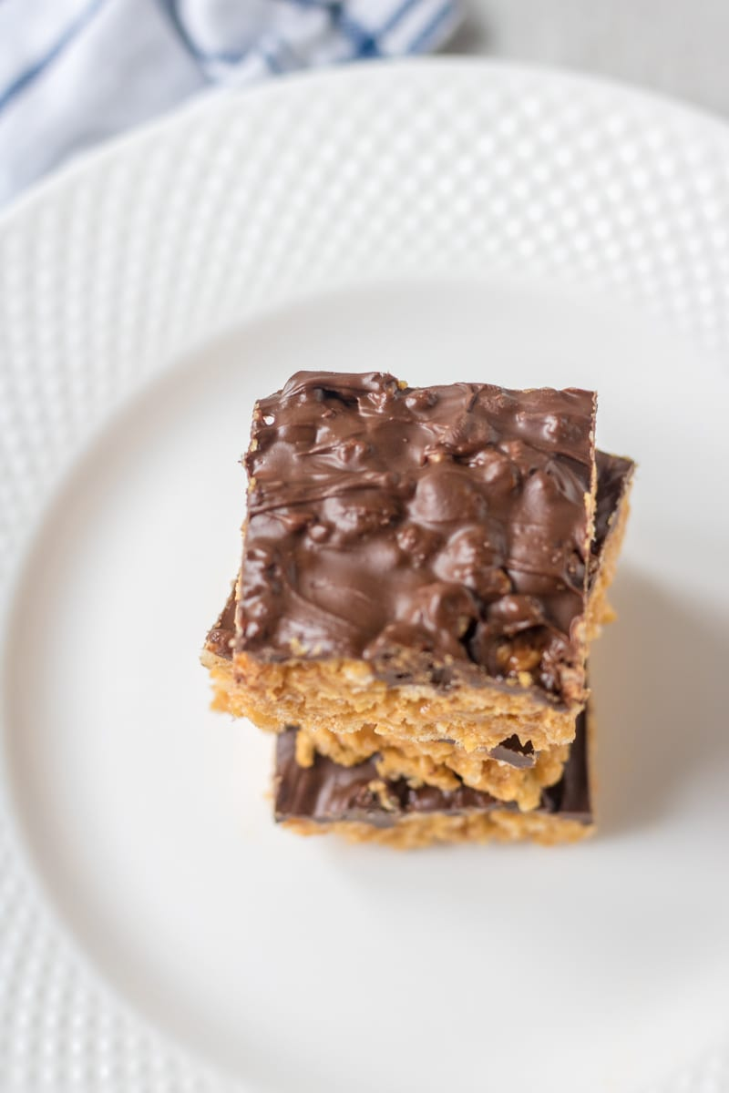Rice Krispie Treat made with peanut butter and topped with chocolate