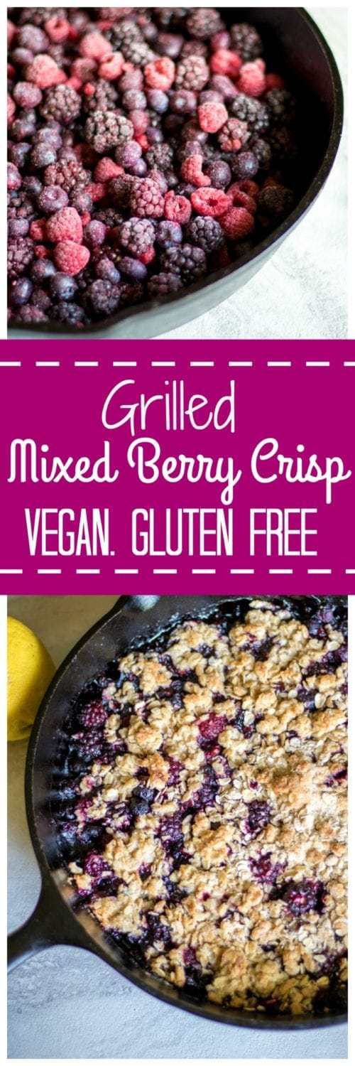Grilled Mixed Berry Crisp: Juicy, plump blackberries and raspberries combine with sweet and crunchy crisp topping, to create one easy and satisfying summer dessert--no oven required. Gluten-Free. Vegan. No Bake.