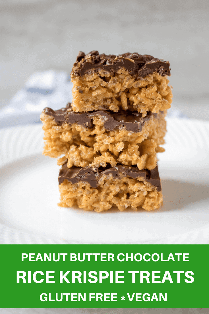 Chocolate Peanut Butter Rice Krispie Treats: A Marshmallow Free Rice Krispie Treat made with brown crisp rice peanut butter, and honey to create a clean version of a Rice Krispie treat. Topped with dark chocolate because chocolate and peanut butter are perfection together. #dairyfree #glutenfree #vegan #dessert #nobakedessert #chocolatepeanutbutter