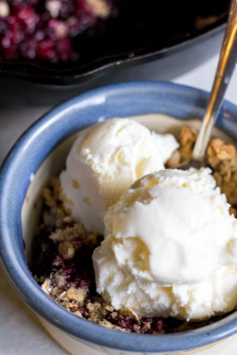 Grilled Mixed Berry Crisp: Juicy, plump blackberries and raspberries combine with sweet and crunchy crisp topping, to create one easy and satisfying summer dessert--no oven required. Gluten-Free. Vegan.