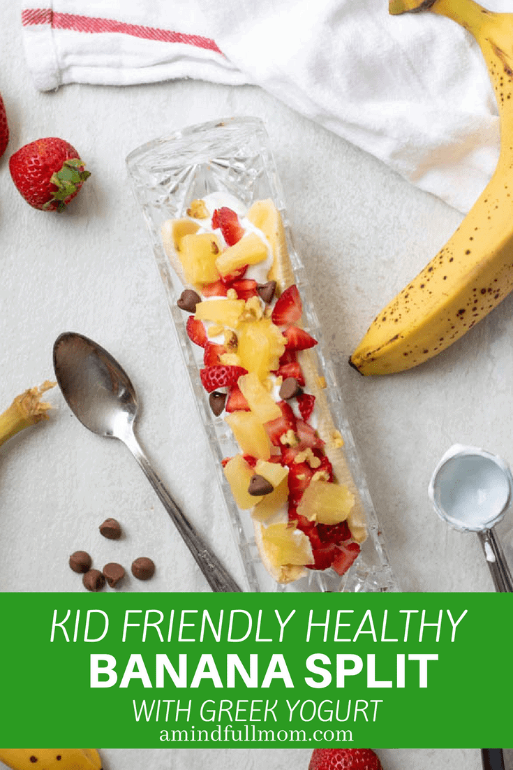 Fresh bananas, pineapple, and strawberries are topped with yogurt, chocolate, and chopped nuts for the healthiest Banana Split Sundae you have ever had--a delicious snack or healthy breakfast guaranteed to make you lick your lips!