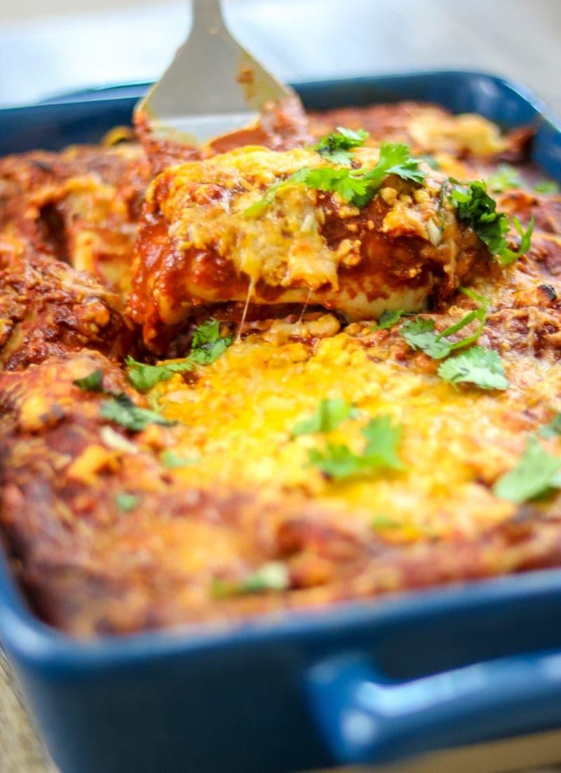 Simple Enchiladas using leftover chicken made with a homemade Enchilada Sauce.