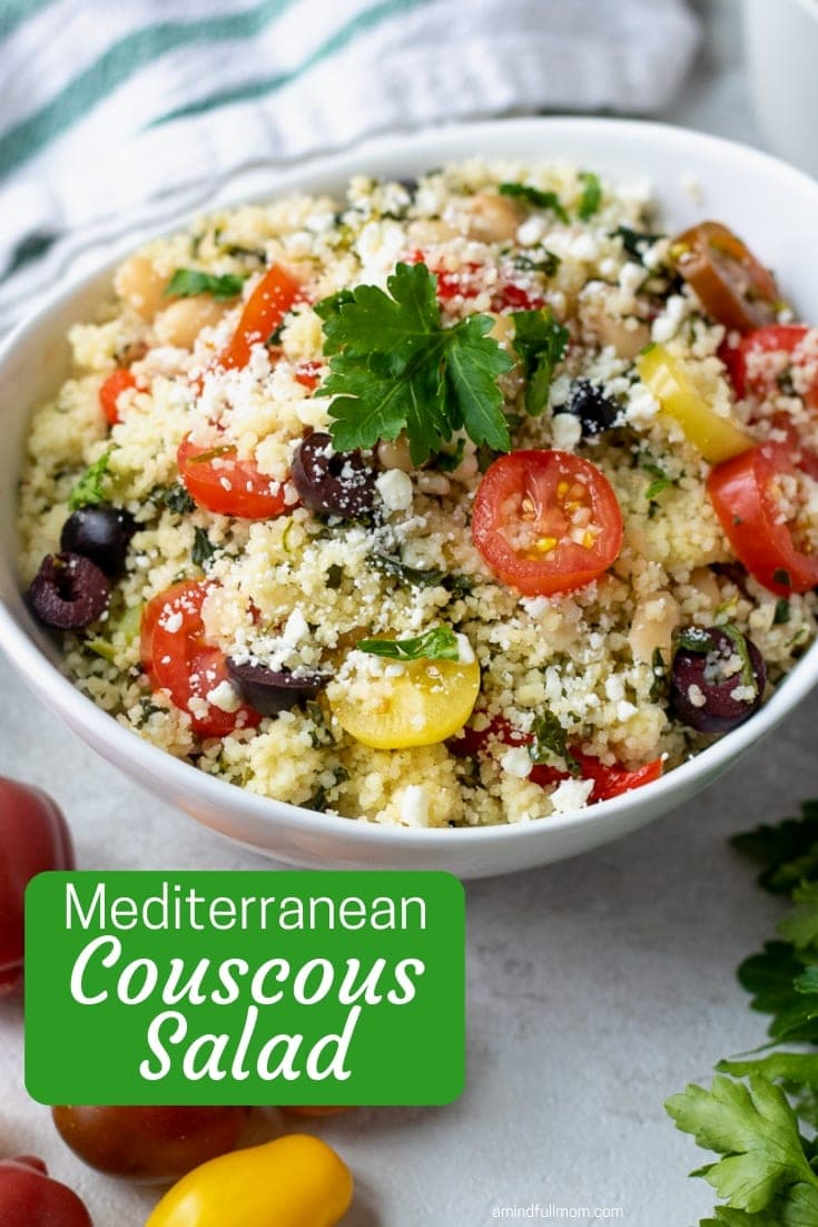 This Mediterranean Couscous Salad makes a perfect light lunch, meatless meal, or side dish.  Prepared with tomatoes, spinach, white beans, and fresh lemon dressing, this fresh Mediterranean style dish is not only delicious, it is easy to make. It makes a hearty side dish or a perfect light lunch and is always a hit at pot lucks!