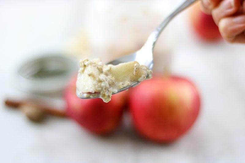Spoonful of Overnight Apple Oatmeal