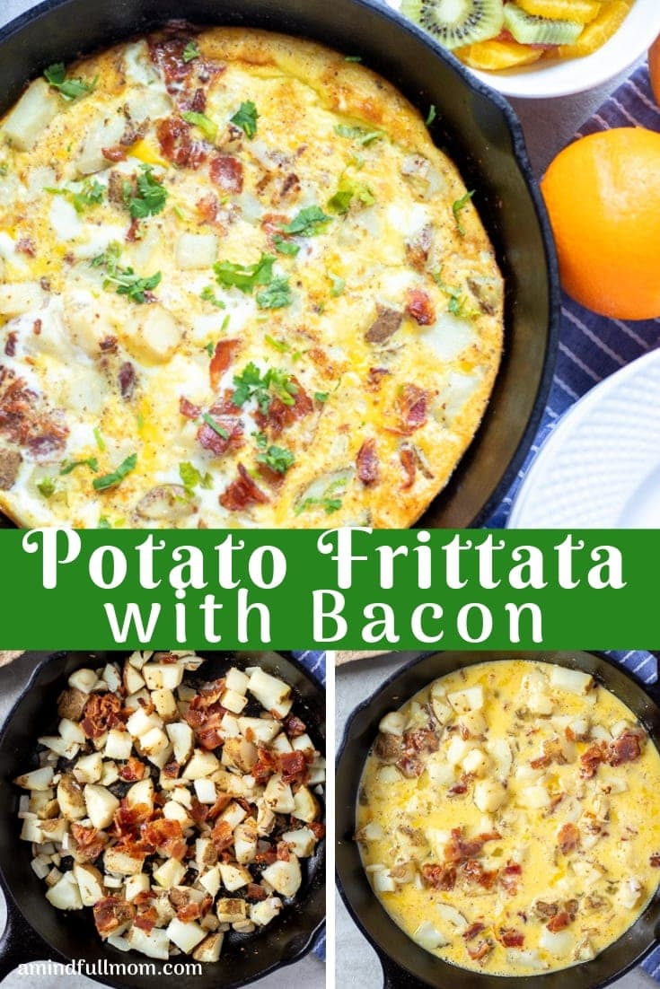 This Oven Frittata is made with potatoes, leeks, bacon, and an egg custard for a hearty, gluten-free meal perfect for brunch or breakfast.