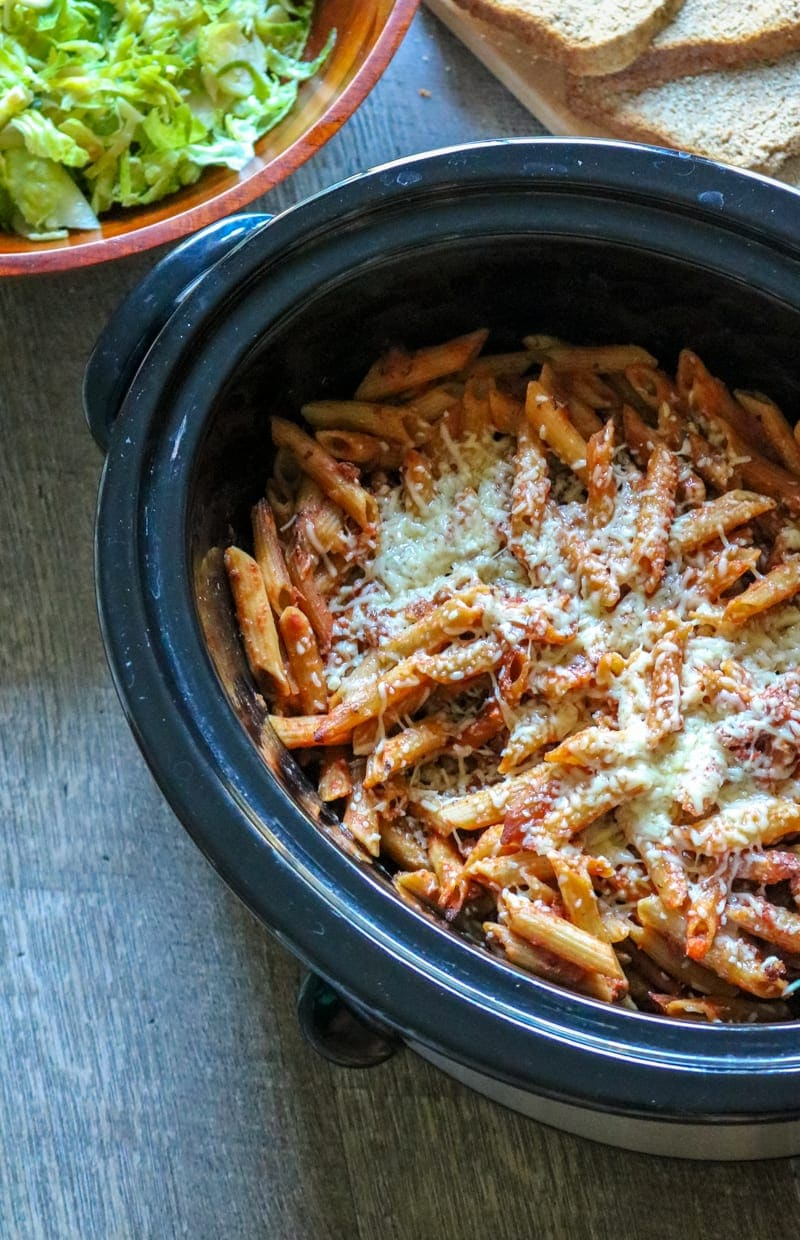 Crock pot full of baked ziti