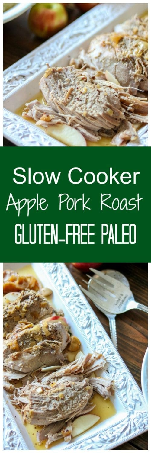 Slow Cooker Apple Pork Roast: Pork loin that has been coated in a savory dry rub and stuffed with apples, is braised all day in the slow cooker with a tangy and sharp mustard and cider sauce. #paleo #slowcooker #porkloinrecipe #crockpotpork