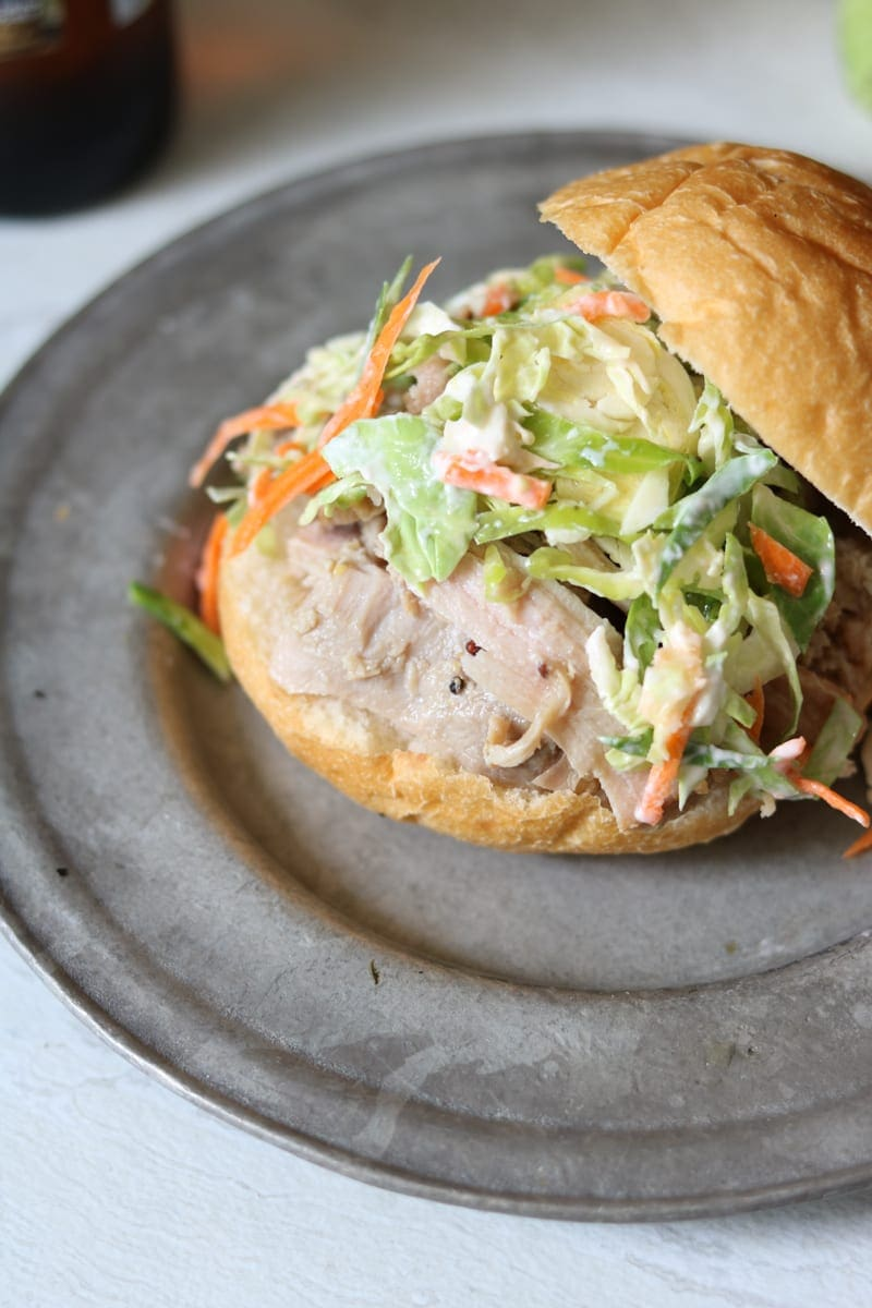 Honey Mustard Pork Sliders with Brussel Sprout Slaw: Easy Slow Cooker Pork paired witih a fresh, crisp slaw.