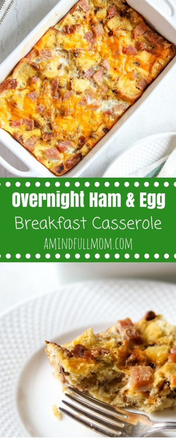 Overnight Ham and Egg Breakfast Casserole: A make-ahead sweet and savory combination of honey glazed ham, sharp cheddar cheese, and Cranberry Walnut Bread, and an egg custard. Perfect for Entertaining.