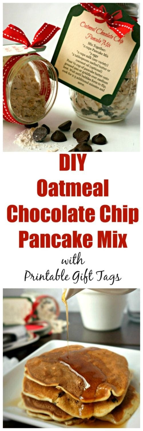 Oatmeal Chocolate Chip Pancake Mix with Printable Gift Tags: Skip the store bought, processed boxed mixes, and make your own delicious Oatmeal Chocolate Chip Pancake Mix made with NESTLÉ® chocolate chips. Includes printable gift tags with instructions, as these make the sweetest gifts to give. | Homemade Pancake Mix | Healthy Pancake Mix | Edible Christmas Gift | DIY Pancake Mix | Oatmeal Chocolate Chip Pancakes | Chocolate Chip Pancake Mix | Food Gift