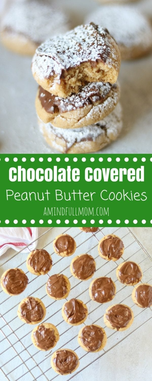 Chocolate Covered Peanut Butter Cookies AKA Muddy Buddy Cookies: A tender peanut butter cookie is dipped in milk chocolate and then dusted with powdered sugar.