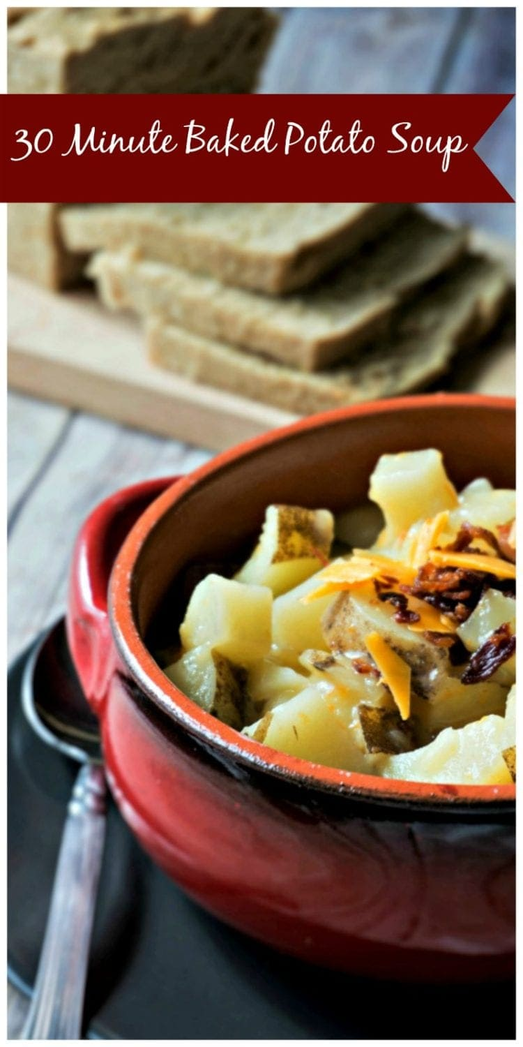 30 Minute Baked Potato Soup: 30 minutes is all you need to get a creamy, comforting dinner on the table. This potato soup is one of the creamiest I have ever had, but yet it contains no butter and less cheese than most recipes call for. It is the the perfect recipe for cold, busy nights!