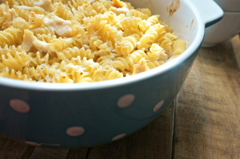 Rotini Noodles baked in blue dish