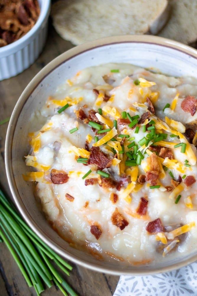 Easy Baked Potato Soup in white bowl