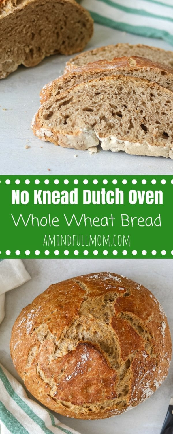 No-Knead Whole Wheat Dutch Oven Bread: Simple technique that creates a hearty, rustic bread which bakes in a dutch oven. Perfect for serving with soup or toasting up for a hearty breakfast.  #bread #wholewheat #healthy