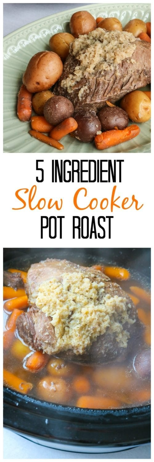 Slow Cooker Pot Roast made with 5 simple ingredients. There is one secret ingredient that makes this dish spectacular!