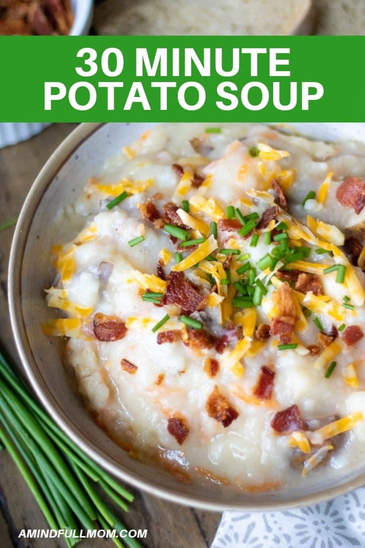 This is the EASIEST and TASTIEST Loaded Baked Potato Soup! 30 minutes is all you need to get a creamy, comforting, and healthy soup on the table. This potato soup is one of the creamiest I have ever had, but yet it contains no butter and less cheese than most recipes call for. It is the perfect recipe for cold, busy nights!