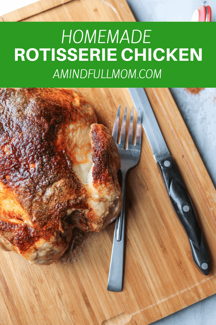 Oven Roasted Homemade Rotisserie Chicken: Skip the preservatives and additives found in store-bought and make your own oven roasted rotisserie chicken with only 5 minutes of work!! You end up with a juicy, tender chicken that stars on its own or in any dish that calls for cooked chicken. Plus Leftover Rotisserie Chicken Recipes.  #Paleo #whole30 #chicken #glutenfree #chickenrecipe