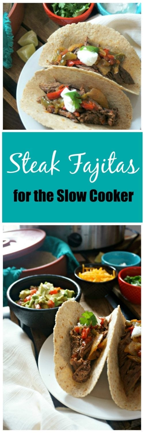 Slow Cooker Steak Fajitas: Skip the Mexican restaurant and let your slow cooker do the cooking for you! Steak Fajitas come together with a few simple steps and are served up with all the flavor of a resaturant dish, just minus the smoke!