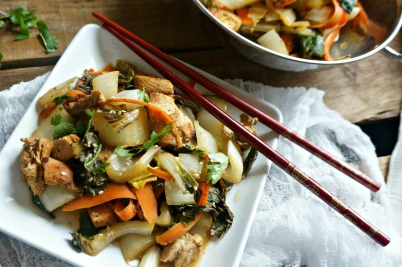 Stir fried chicken and bok choy 15 minute recipe a mind full mom forumfinder Image collections