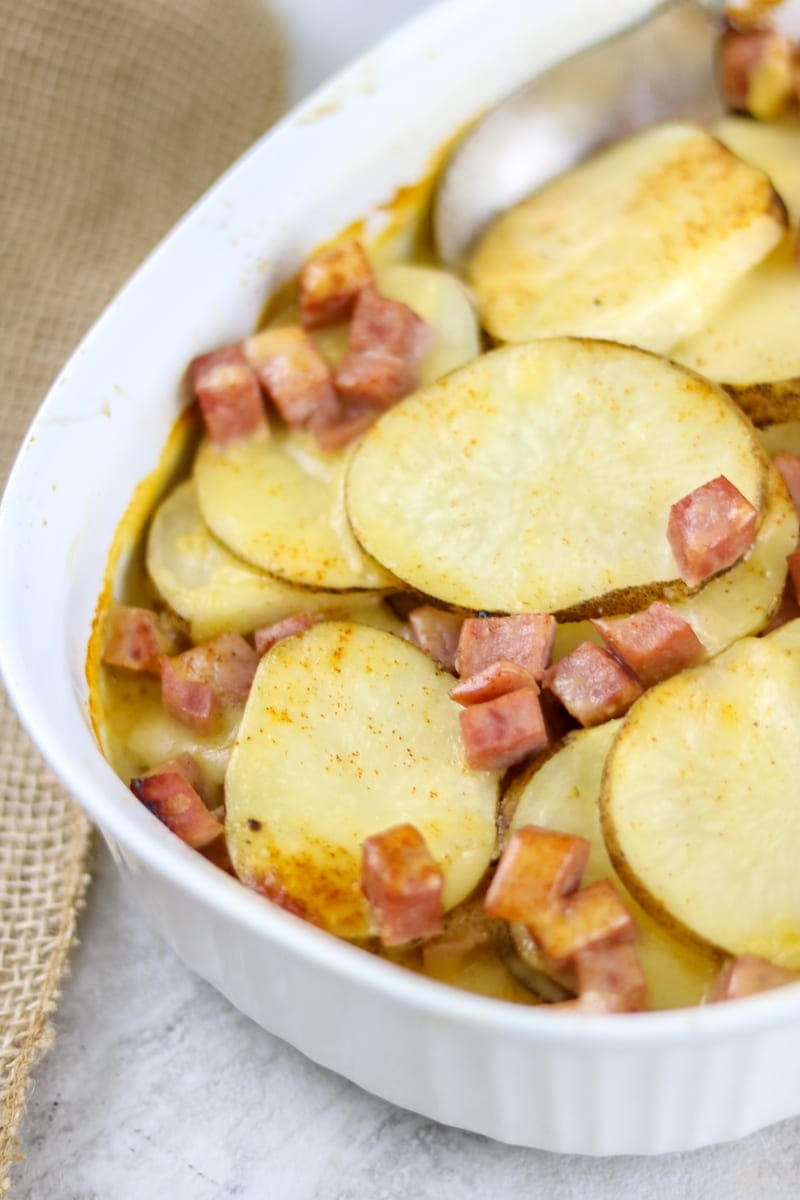 Ham and Scalloped Potatoes with Homemae Cheese Sauce