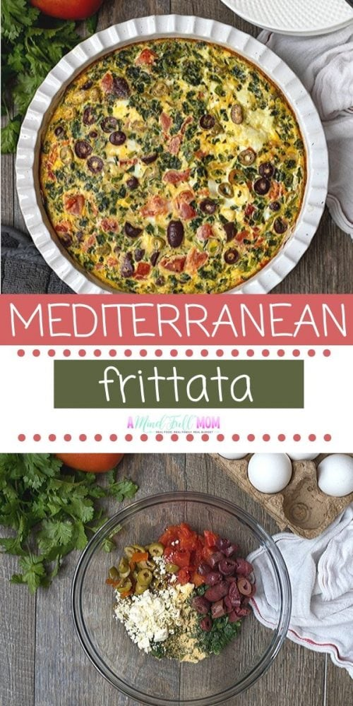 This Spinach Frittata has been dressed up with feta, olives and tomatoes for an easy and healthy Mediterranean twist on an egg frittata. The contrast between the creamy eggs, the sharp feta, and the salty olives adds flavor and dimension to this easy recipe. While this Greek style frittata makes a delicious breakfast or brunch, it is also a perfect dish to serve as a lunch or light dinner.