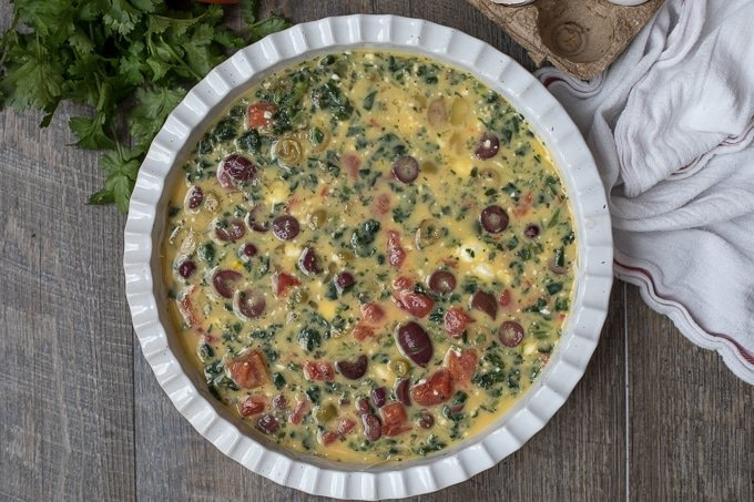 Frittata mixture in baking dish