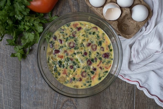 Spinach Frittata mixture in mixing bowl