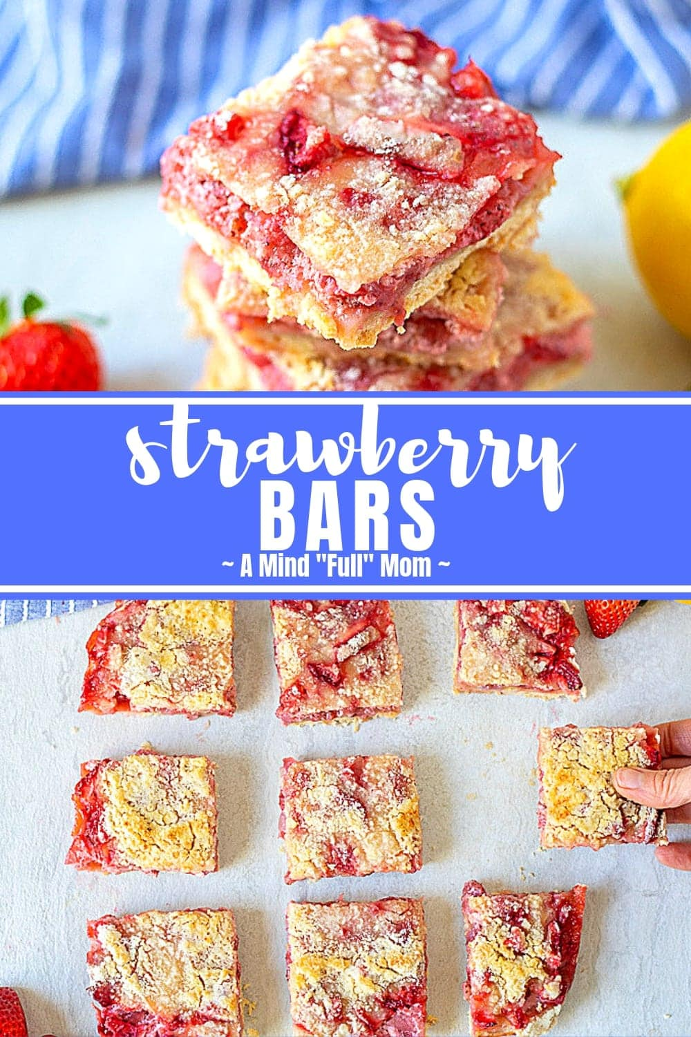 Throw away the rolling pins and bake up these Easy Strawberry Bars instead of Strawberry Pie! A buttery shortbread crust is topped with a creamy strawberry filling, with just a hint of lemon and finished with a streusel topping. These Strawberry Crumble Bars are irresistible!