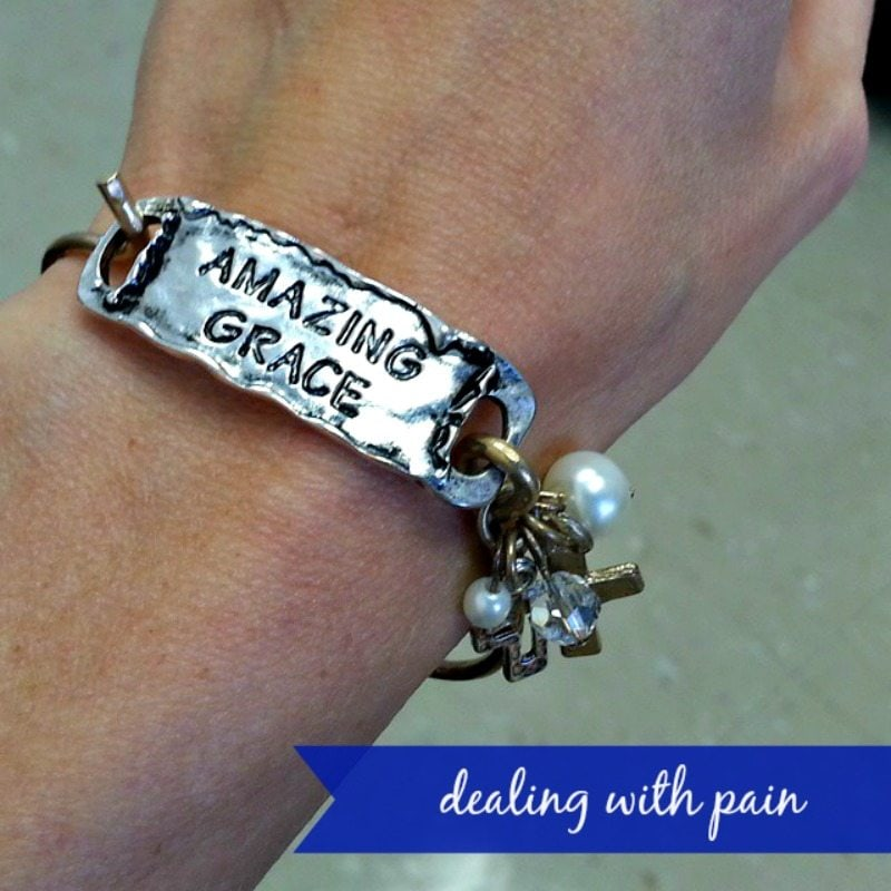 a bracelet with word's amazng grace on it