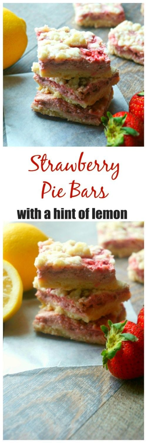 "Strawberry Pie Bars: A buttery shortbread crust is topped with a creamy strawberry filling, with just a hint of lemon and finished with a streusel topping. Throw away the rolling pins and bake with ease with this take on ""pie."""