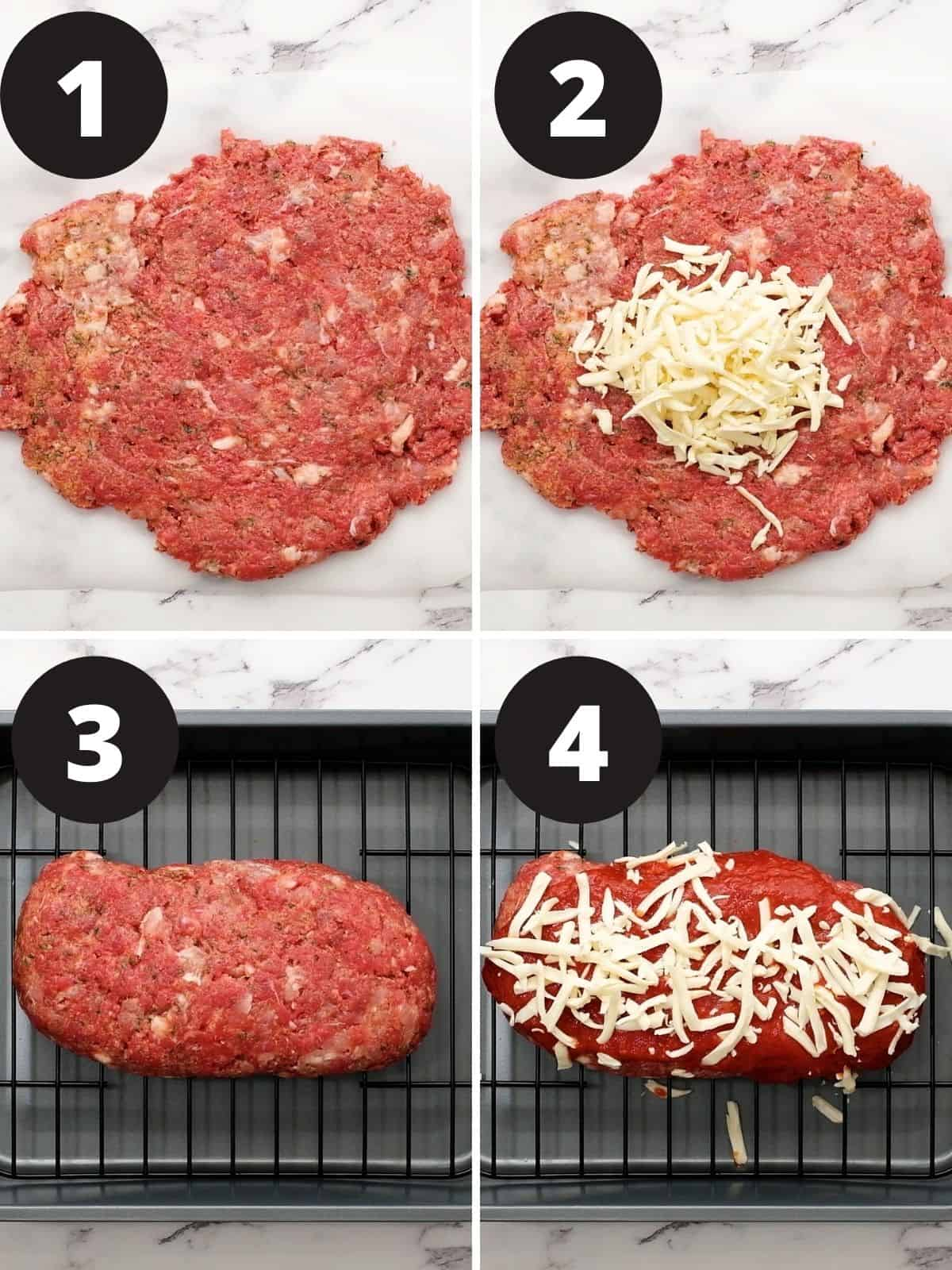 Step by step photos of how to make cheese stuffed meatloaf