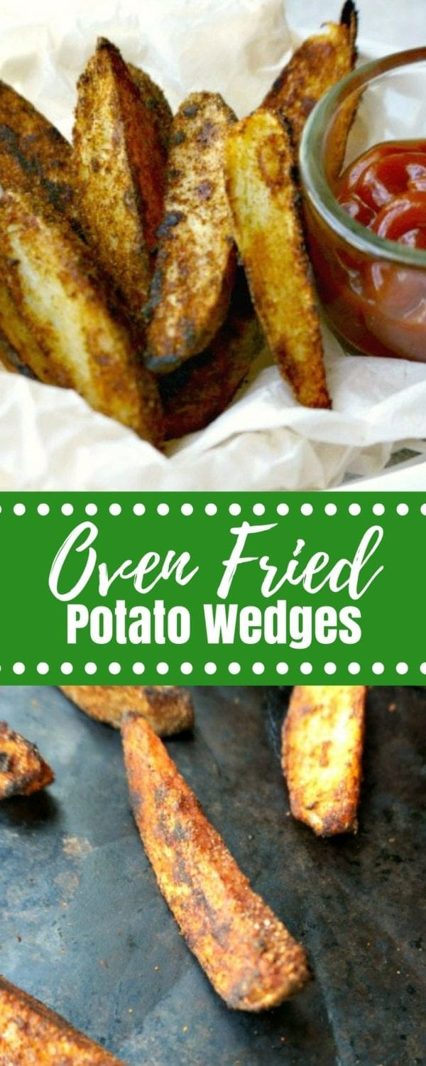 Oven Baked Potato Wedges: Wedges of thickly sliced potatoes that have been coated with a special seasoning blend and and then oven fried for a crisp exterior and perfectly tender filling on the inside. This is my healthy spin on a fried classic!#sidedish #potatoes #fries
