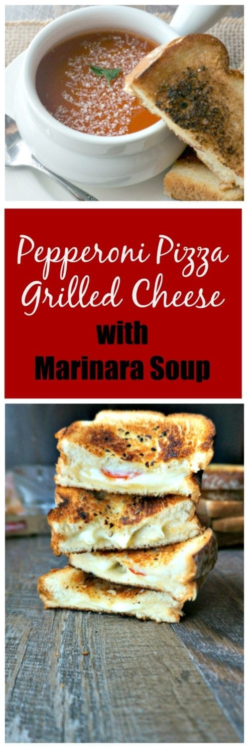 Pepperoni Pizza Grilled Cheese with Marinara Soup: A twist on grilled cheese that is sure to be a hit with your whole family. Provolone, mozzerella, and parmesan cheese are layered with pepperoni and toasted between two slices of soft, tender bread that has been slatered in garlic and herb oil. Served up with a side of Marinara Soup, perfect for dipping. ArtesanoBread